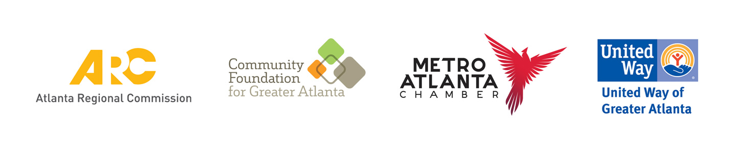 This is an image that features the logos of: Atlanta Regional Commission, Community foundation for Greater Atlanta, Metro Atlanta Chambers, United Way of Greater Atlanta